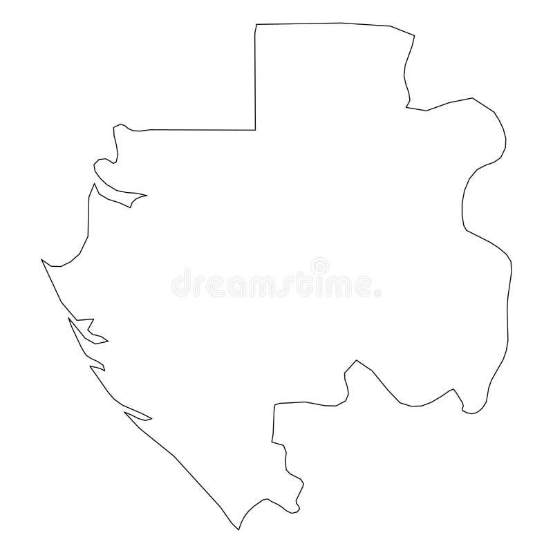 加蓬-国家区域坚实黑概述边界地图  简单的平的传染媒介例证 皇族释放例证
