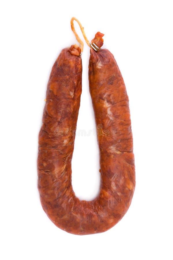 加调料的口利左香肠古西班牙人查出的白色 免版税库存图片