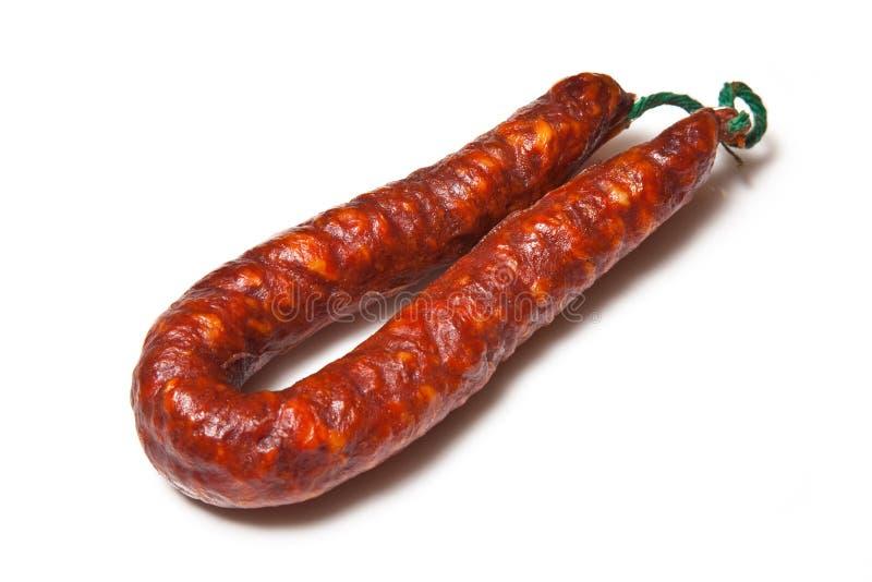 加调料的口利左香肠古西班牙人香肠 库存照片