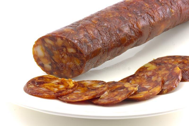 加调料的口利左香肠古西班牙人 免版税库存照片
