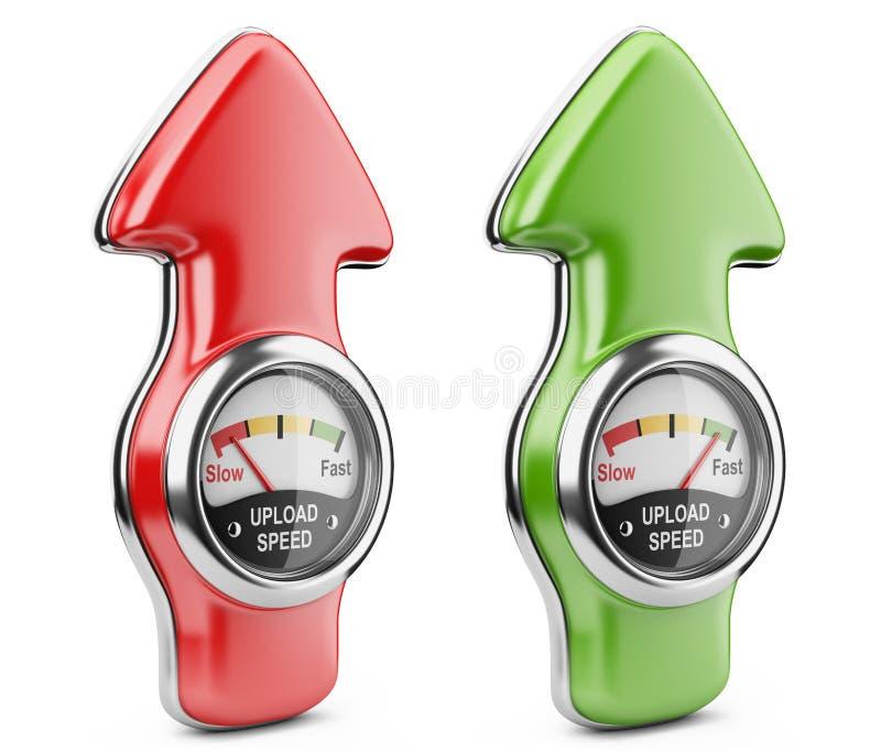 加载车速表和箭头标志。互联网连接速度骗局 库存例证