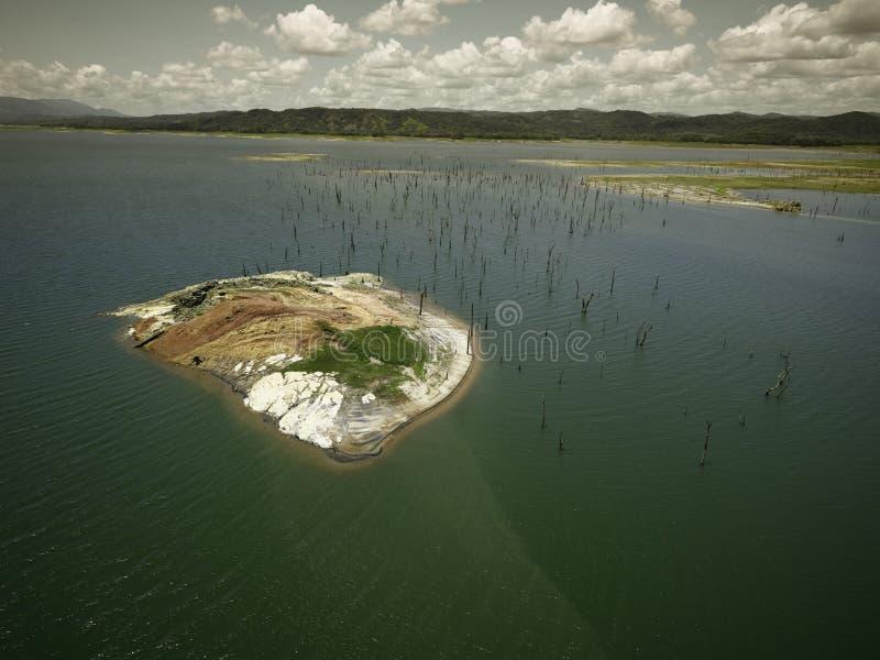 加通湖,巴拿马运河鸟瞰图  免版税库存图片