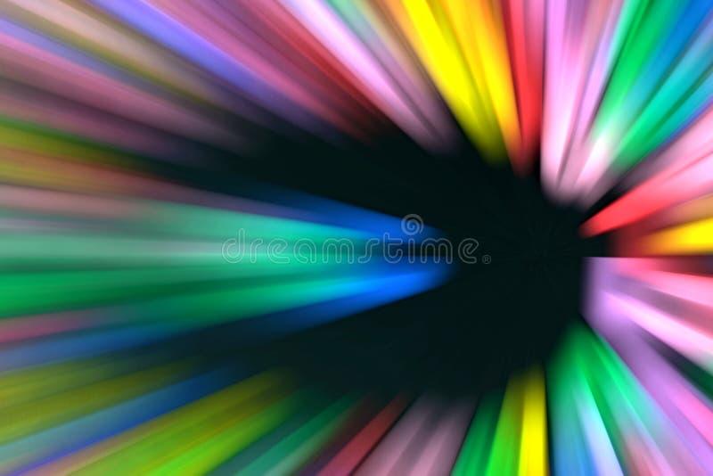 加速与五颜六色的光的行动在一个黑暗的隧道 免版税库存图片