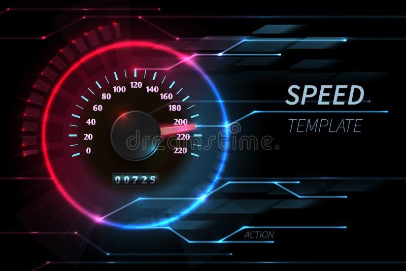 加速行动线传染媒介摘要与小汽车赛车速表的技术背景 皇族释放例证