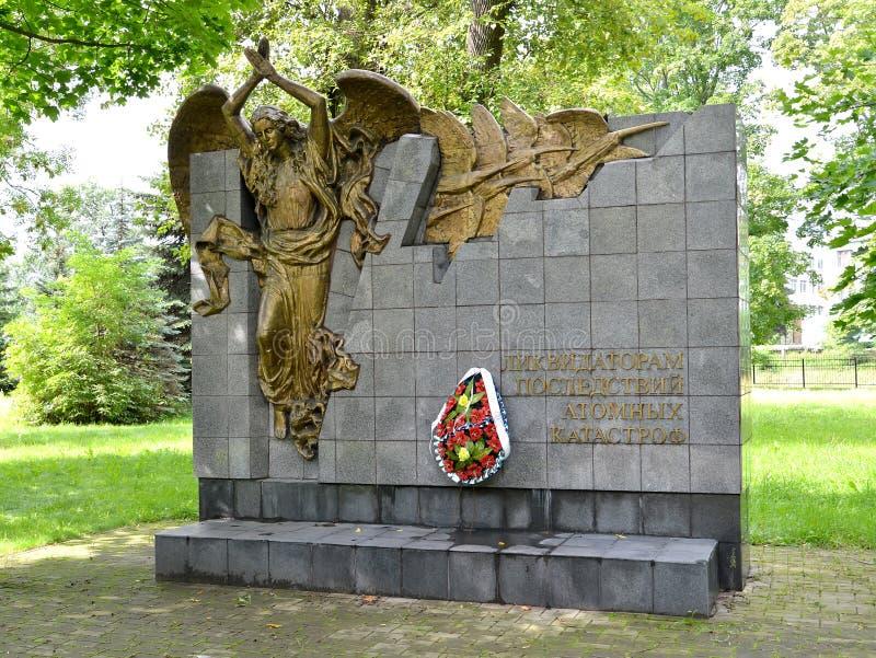 加里宁格勒,俄国 对原子事故的后果清算人的难忘的标志  免版税库存照片