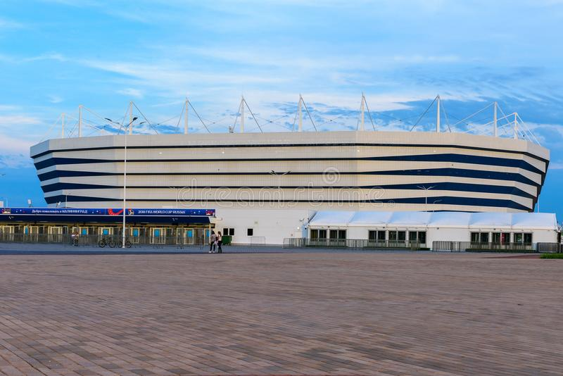 加里宁格勒,俄罗斯, 2018年6月10日:橄榄球场竞技场,将有世界杯2018年 图库摄影