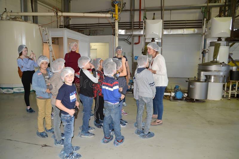 加里宁格勒,俄罗斯 孩子们在制作店里听导游 巧克力工厂儿童之旅BELGOSTAR 库存照片