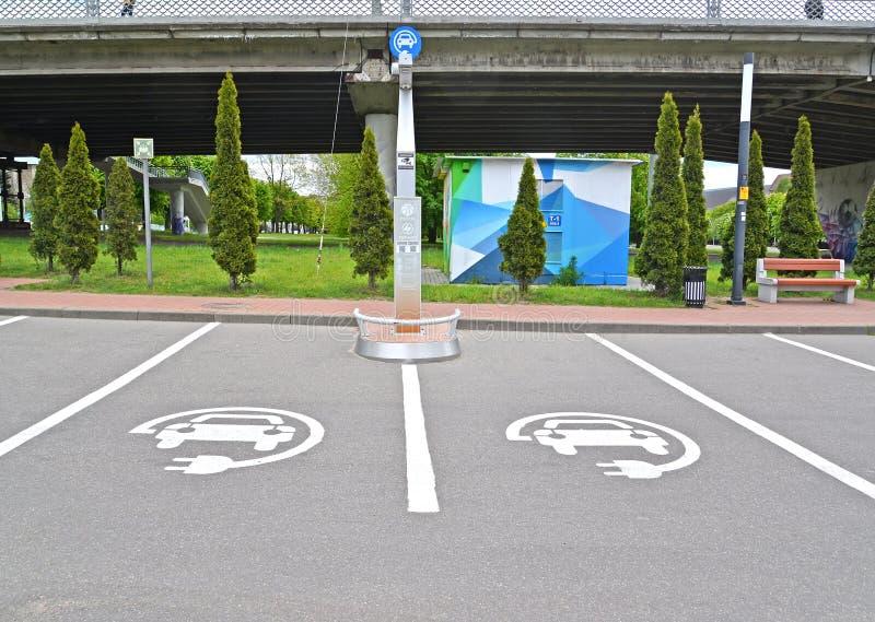 加里宁格勒,俄罗斯 电动车的Electrofuel驻地EZS 免版税库存照片