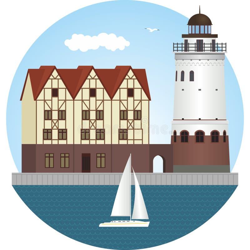 加里宁格勒 鱼加里宁格勒koenigsberg村庄 灯塔 库存例证