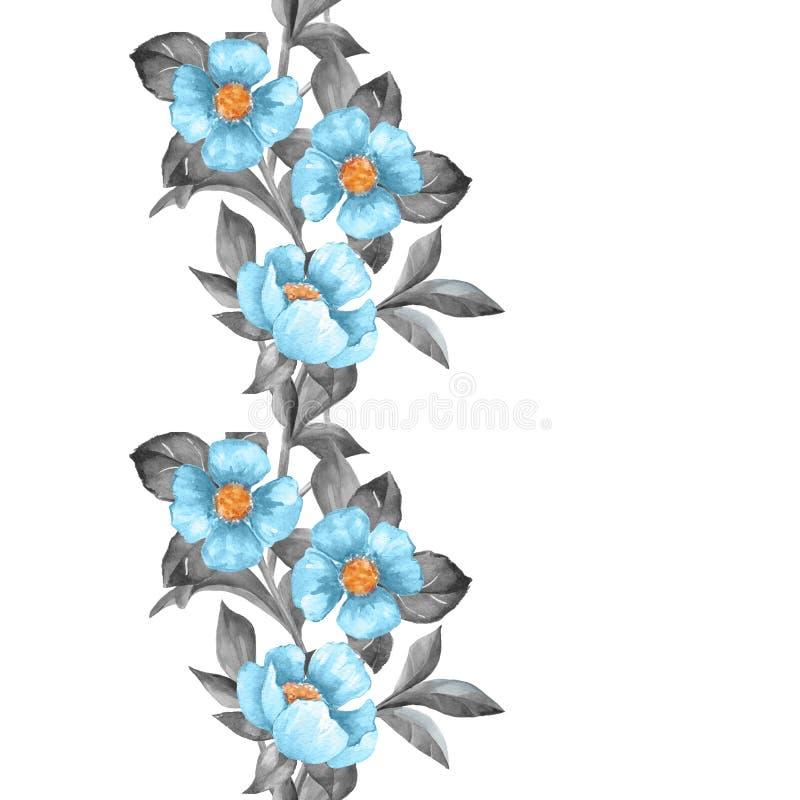 添加额外的花说明图象其他文本对透明向量工作的区艺术蓝色边界 皇族释放例证