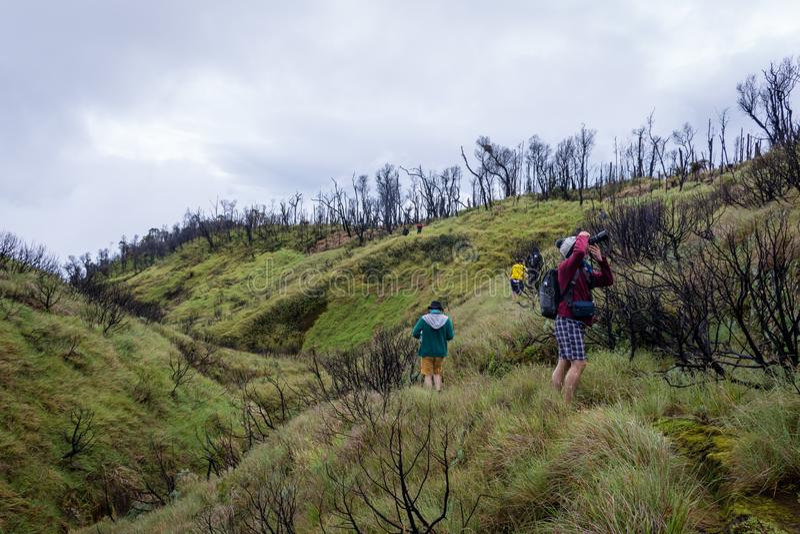 加鲁特,印度尼西亚- 2018年8月12日:一个小组年轻人是享用和远足帕潘达扬火山山 帕潘达扬火山山是 库存照片