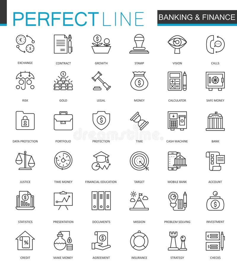 财务和开户稀薄的线被设置的网象 概述冲程象设计 皇族释放例证
