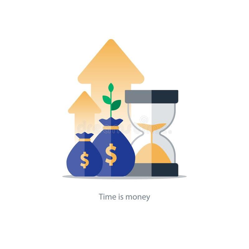 财务和投资管理,预算计划,复利,收入 皇族释放例证