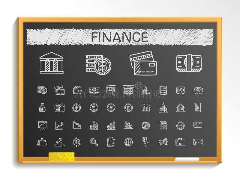 财务手图画线象 白垩剪影在黑板的标志例证 库存例证