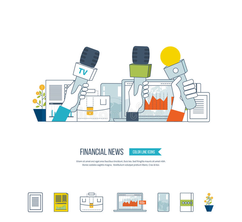 财务新闻和战略,计划的战略概念 背景会议查出话筒新闻白色 向量例证