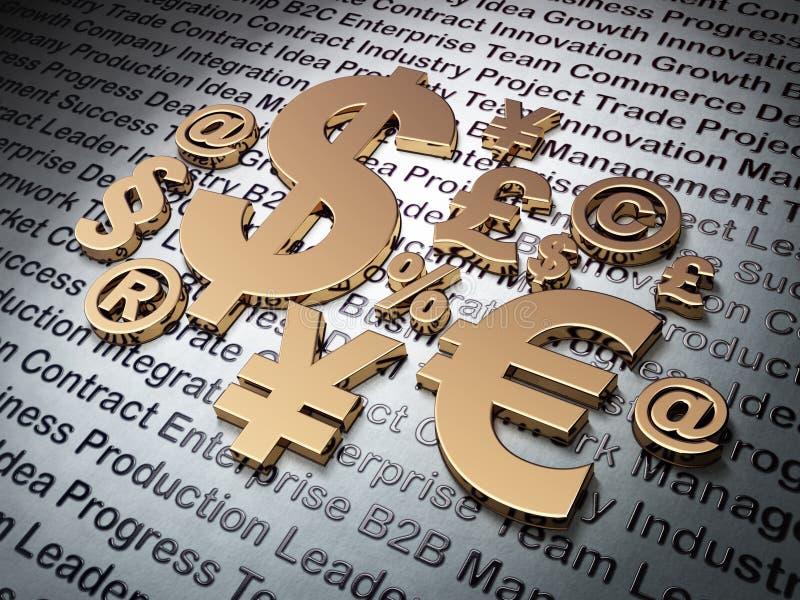 财务概念:在企业背景的金黄标志 向量例证