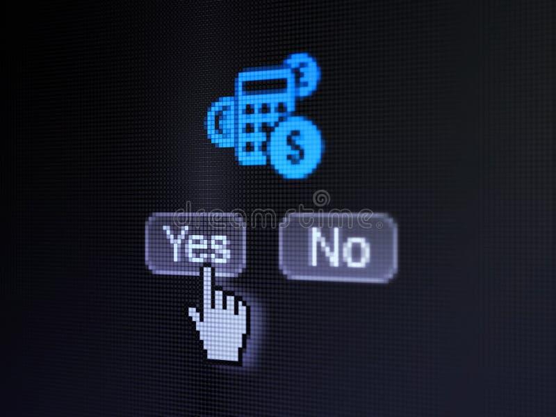 财务概念:在数字计算机屏幕上的计算器 免版税库存照片