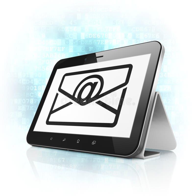 财务概念:在片剂个人计算机计算机上的电子邮件 向量例证