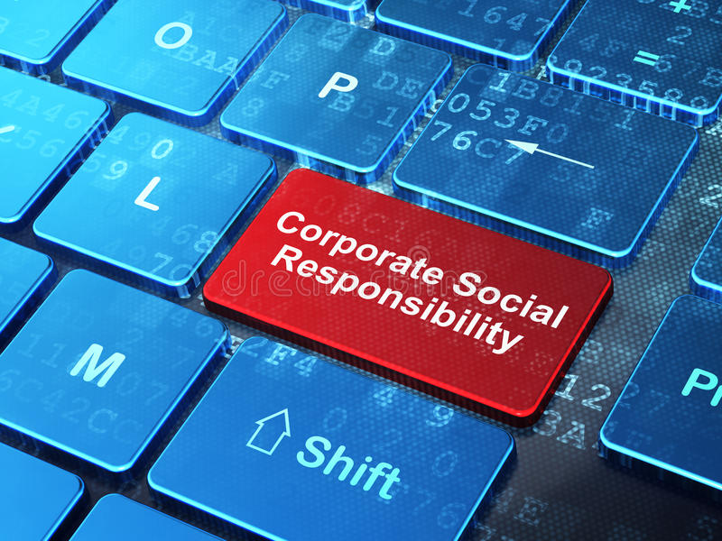 财务概念:在键盘背景的公司的社会责任 库存例证