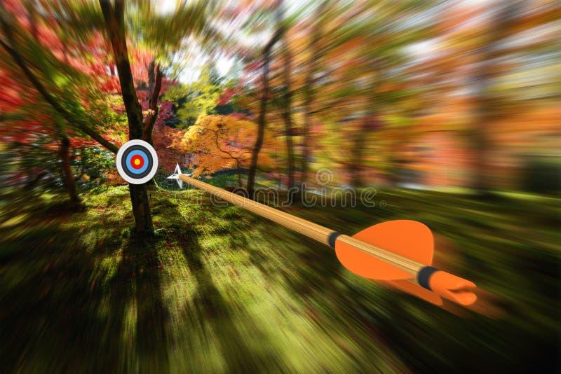 移动与精确度和被弄脏的行动朝射箭目标,部分照片,部分3D翻译的箭头 库存照片
