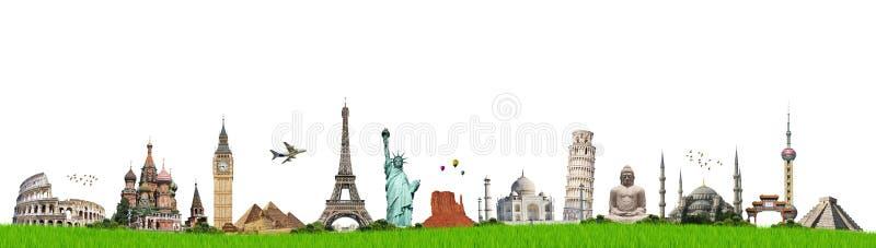 移动世界纪念碑概念 向量例证