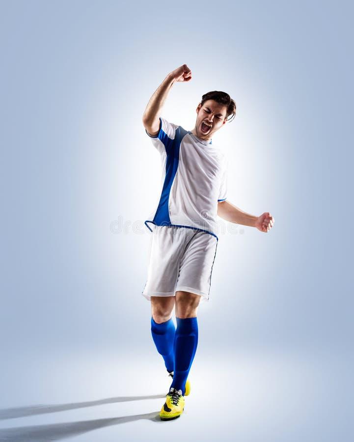 活动充分isloted照片球员足球工作室 免版税库存照片