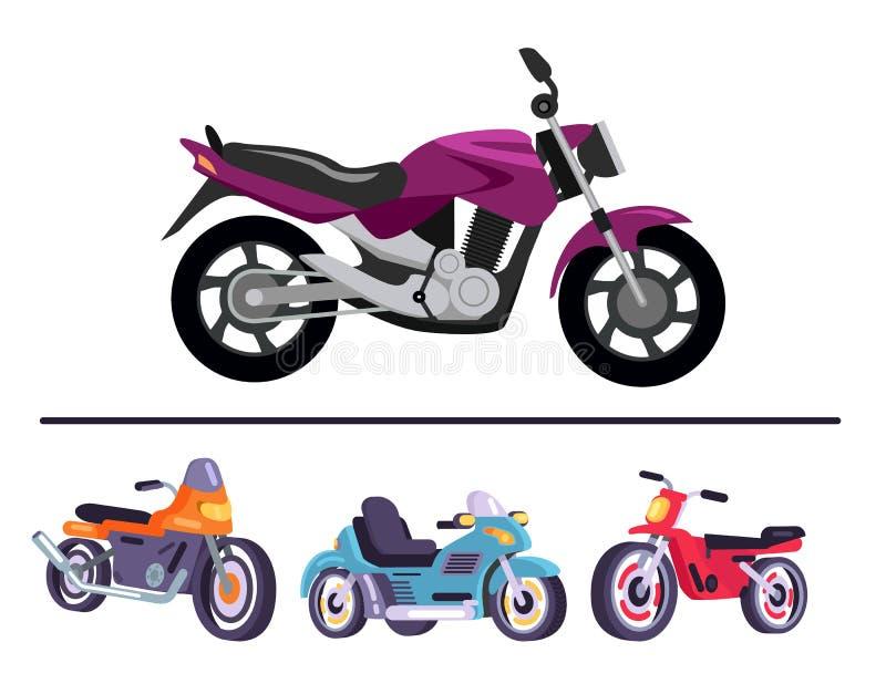 动力化的自行车汇集,滑行车摩托车 库存例证