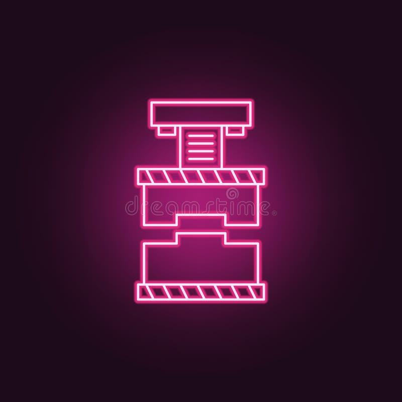动力印刷机象 制造业的元素在霓虹样式象的 网站的简单的象,网络设计,流动应用程序,信息图表 向量例证