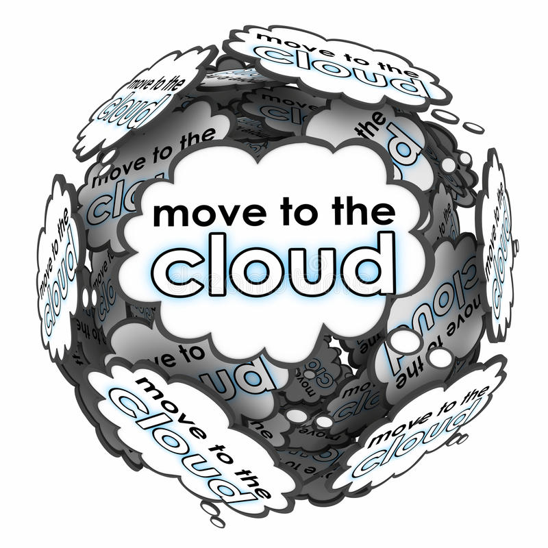 移动向云彩词想法想法计划网上转移服务器 皇族释放例证