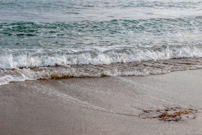 滚动在海滩的波浪 图库摄影