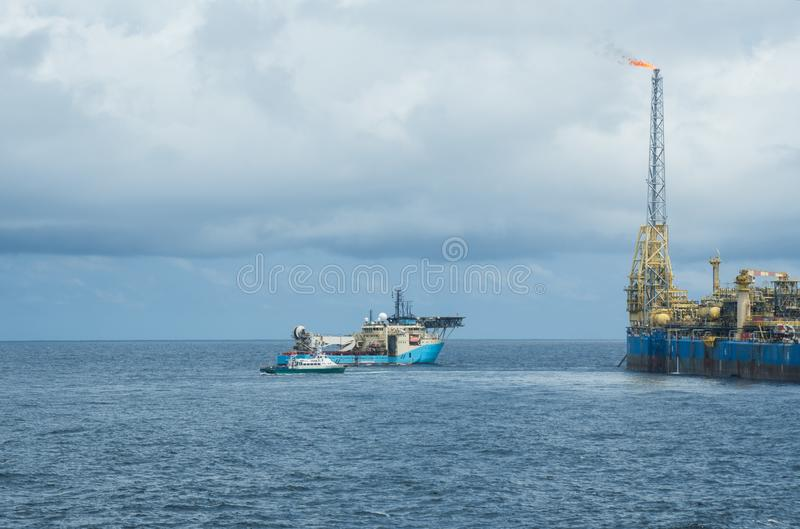 动态安置的DP操作临近FPSO罐车 供应舰队工作 库存图片