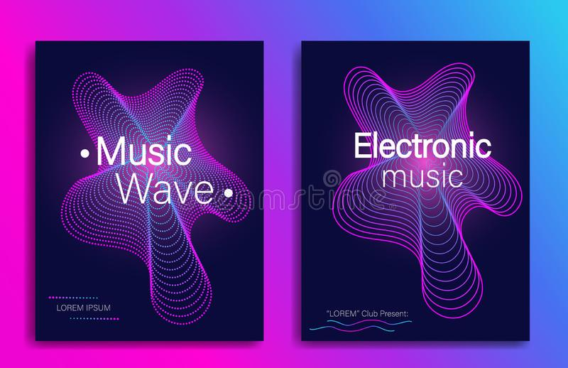 动态梯度形状 音乐与抽象梯度线波浪的飞行物设计 电子音乐党 现代音乐会横幅 ?? 皇族释放例证