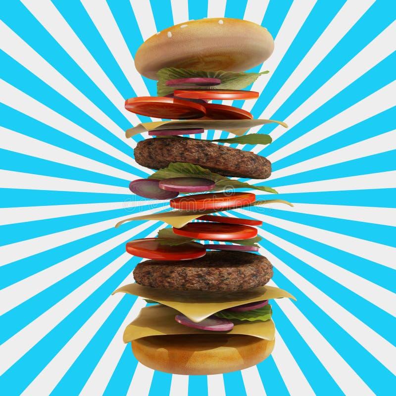 动态汉堡包有白色和蓝色背景 库存例证