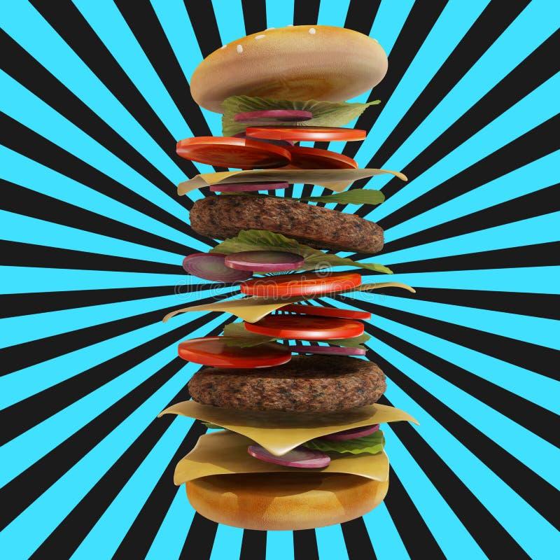 动态汉堡包有白色和黑背景 皇族释放例证