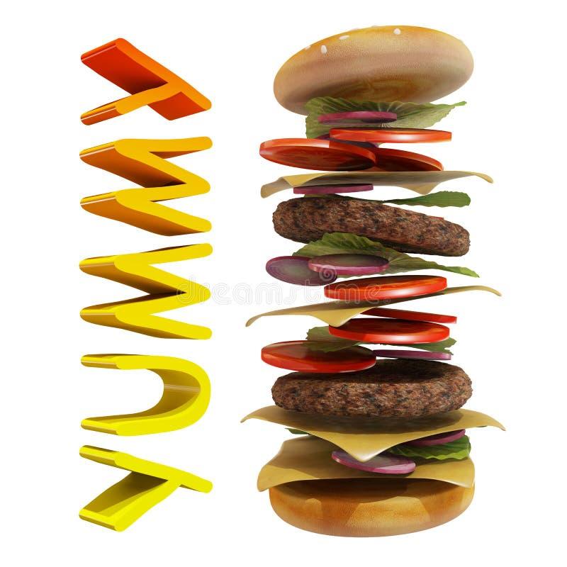 动态汉堡包有白色背景和美味的文本 皇族释放例证