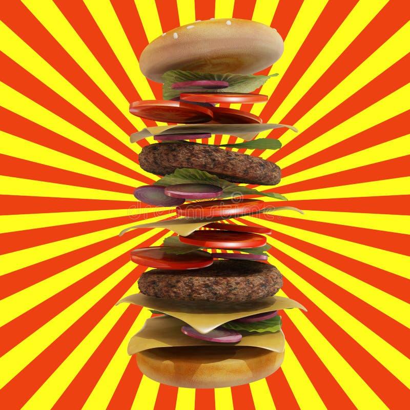 动态汉堡包有红色和黄色背景 向量例证