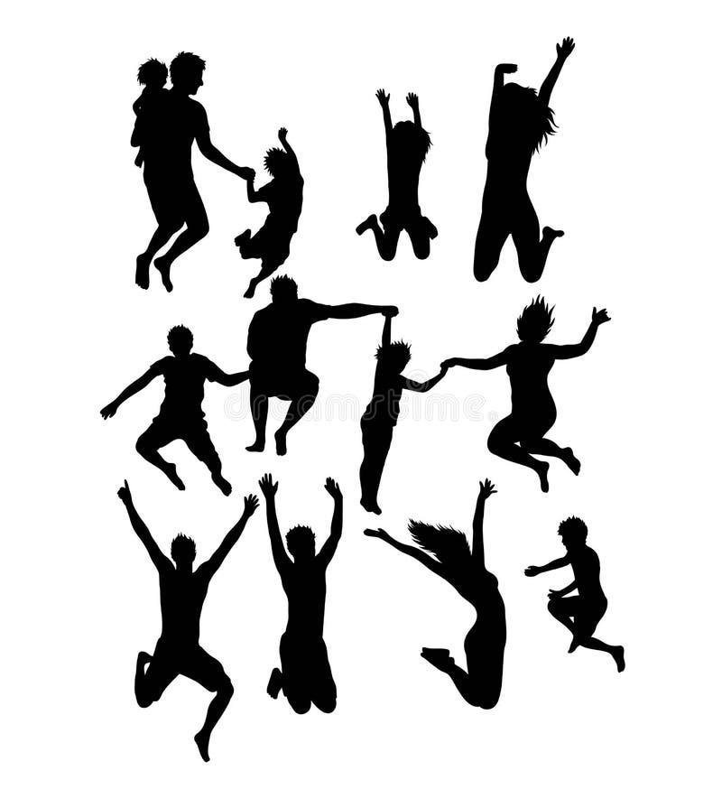 活动愉快的跳跃的家庭和朋友剪影 皇族释放例证