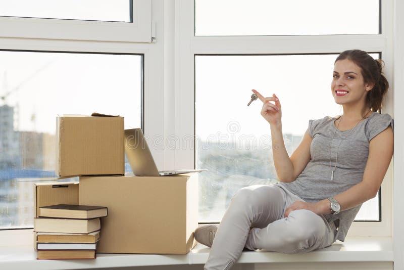 移动新的公寓 免版税库存照片