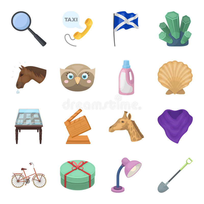 动物、清洁、体育和其他网象在动画片样式 旗子,戏院,在集合汇集的教育象 向量例证