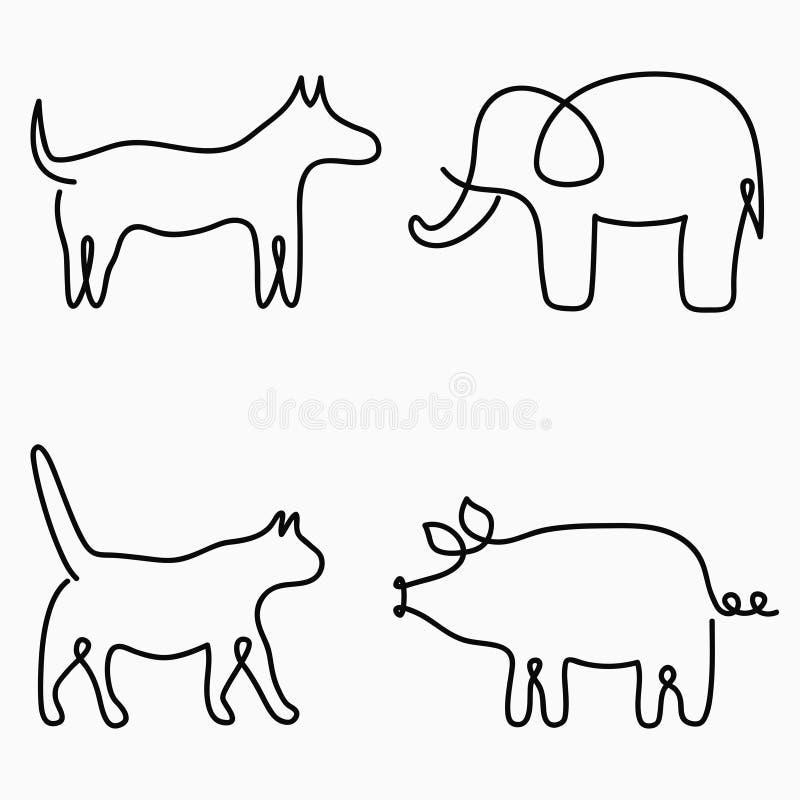 动物一线描 实线印刷品-猫,狗,猪,大象 商标的手拉的例证 向量 向量例证