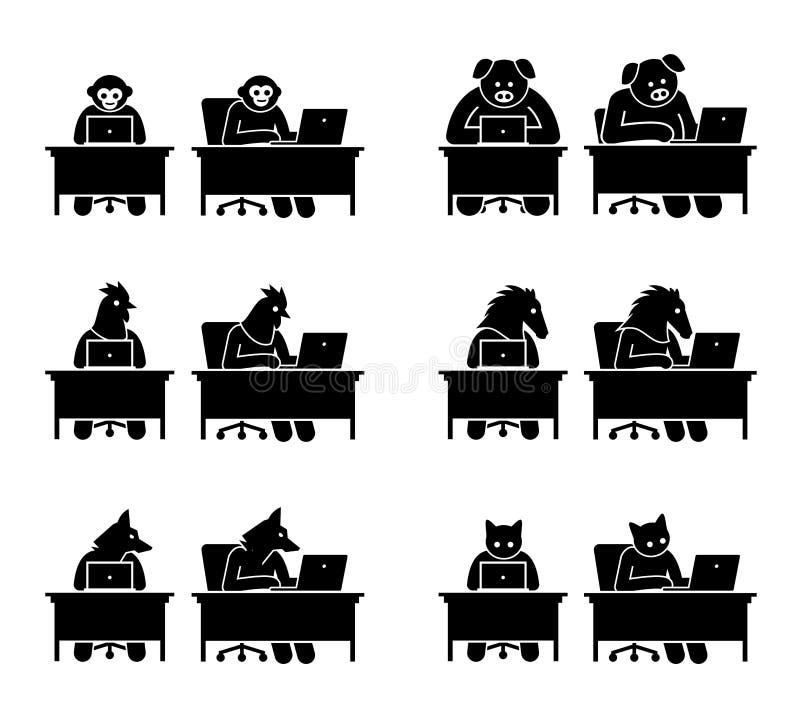 动物不同使用浏览的计算机的互联网 皇族释放例证