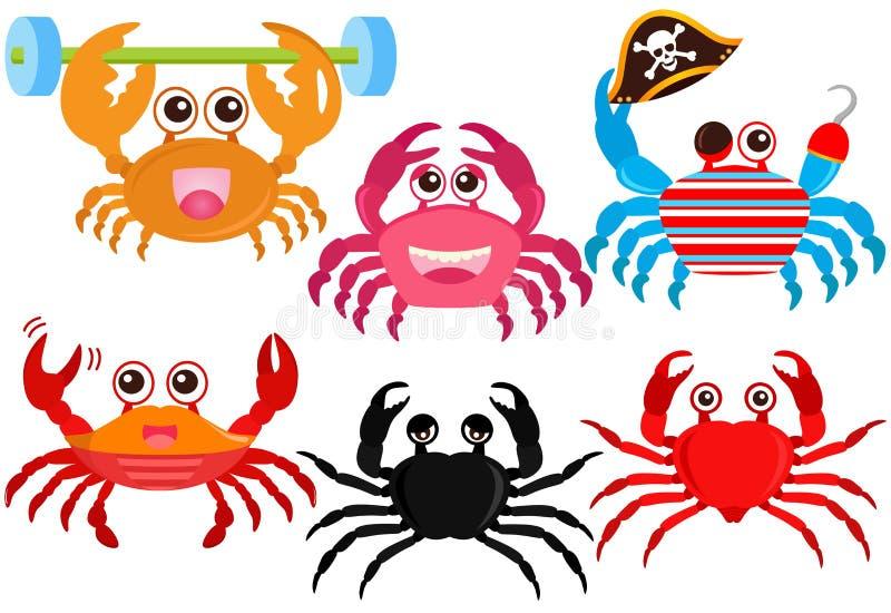 动物五颜六色的螃蟹逗人喜爱的图标向量 向量例证