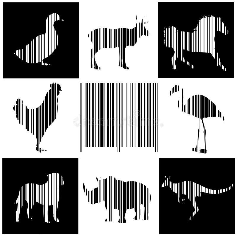 动物作为条形码 库存例证