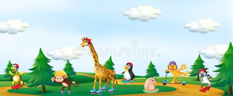 动物使用在公园的小组 向量例证