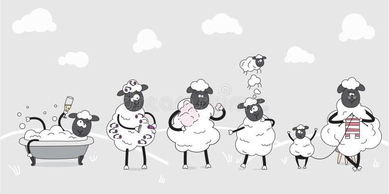 动物农场横向许多sheeeps夏天 逗人喜爱的绵羊家庭  儿童例证 滑稽的漫画人物 每天行为 库存例证
