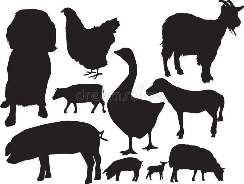 动物农场集合sihouette 库存例证