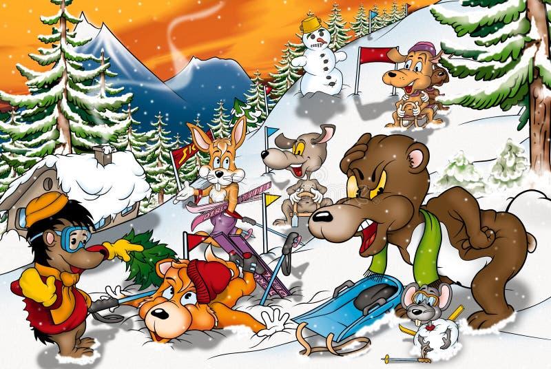 动物冬天 向量例证