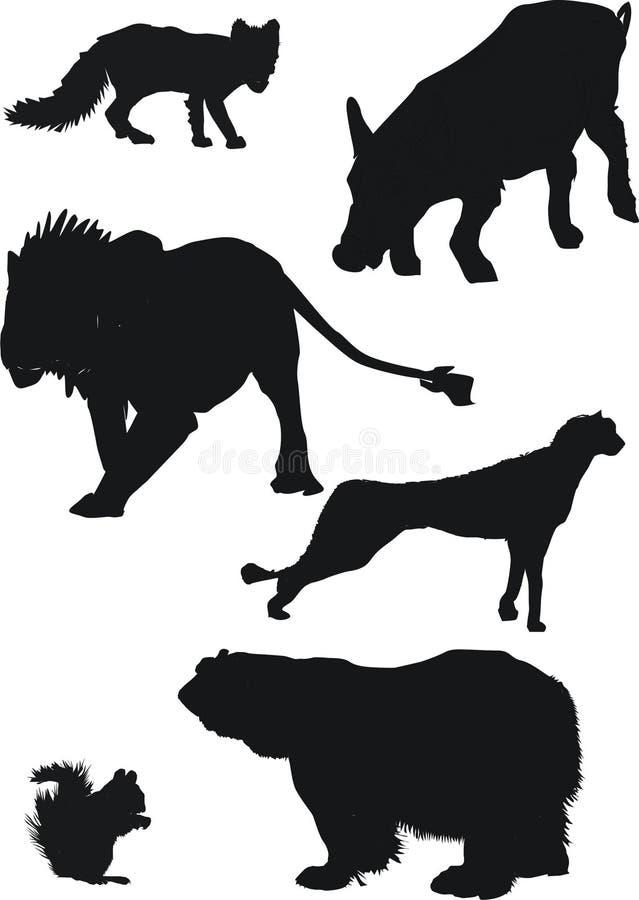 动物剪影 库存例证