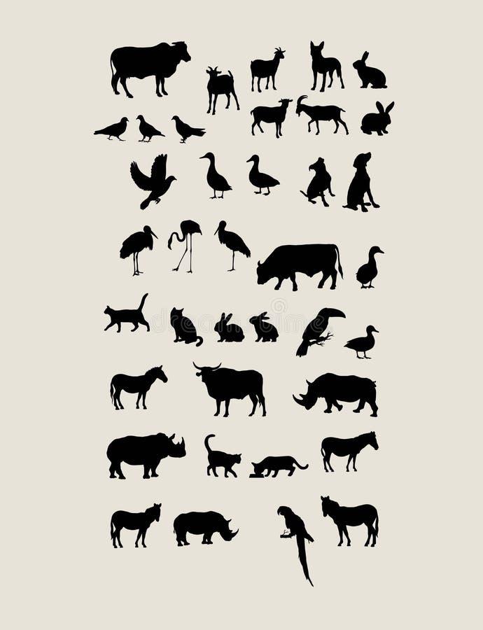 动物剪影 皇族释放例证