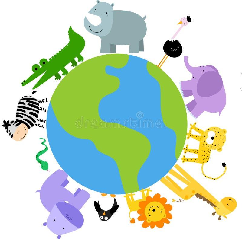 动物动画片世界 向量例证